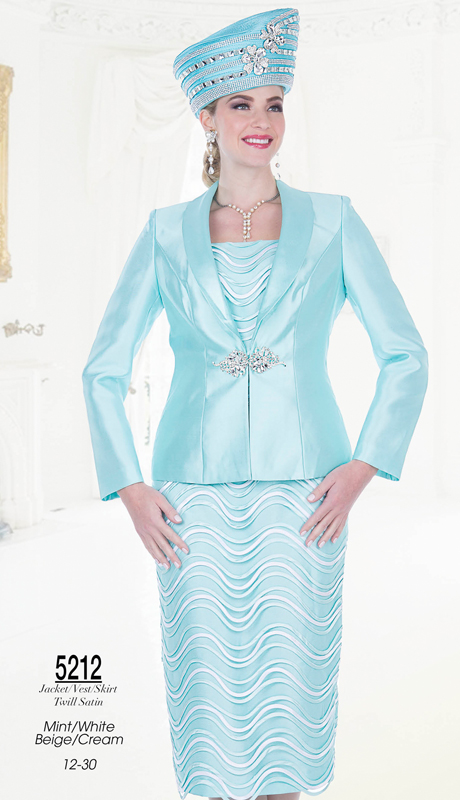 Champagne Italy 5212-BC ( 3pc Satin Ladies Church Suit )