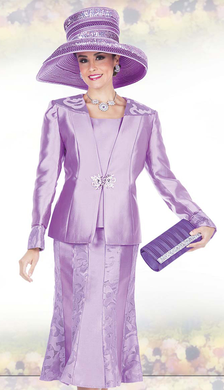 Champagne Italy 5015 ( 3pc Satin Womens Church Suit With Light Flower Pattern Interlaced Jacket, Skirt And Cami )