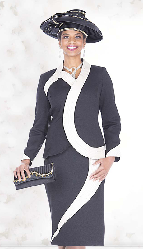 Champagne Italy 5128 ( 2pc Peachskin Ladies Church Suit With Dynamic Stripe Stitching And Rhinestone Detail On Jacket And Skirt )