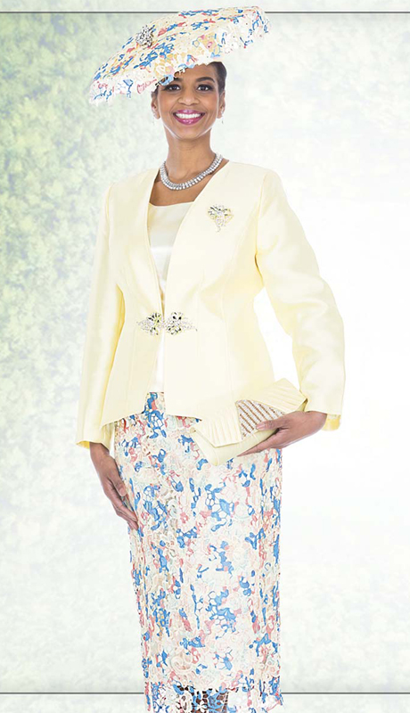 Champagne Italy 5020 ( 3pc Satin Church Suit With Rhinestone Brooch, Jacket, Cami And Novelty Multi-Color Lace Skirt )