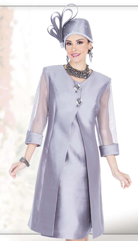 Champagne Italy 5126 ( 2pc Satin Ladies Church Jacket Dress With Button Front And Sheer Sleeve Long Jacket )
