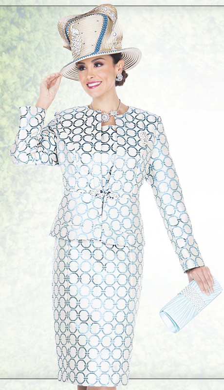 Champagne Italy 5019 ( 2pc Exclusive Metallic Brocade Ladies Church Dress With Circle Pattern, Rhinestone Teardrop Detail Jacket )