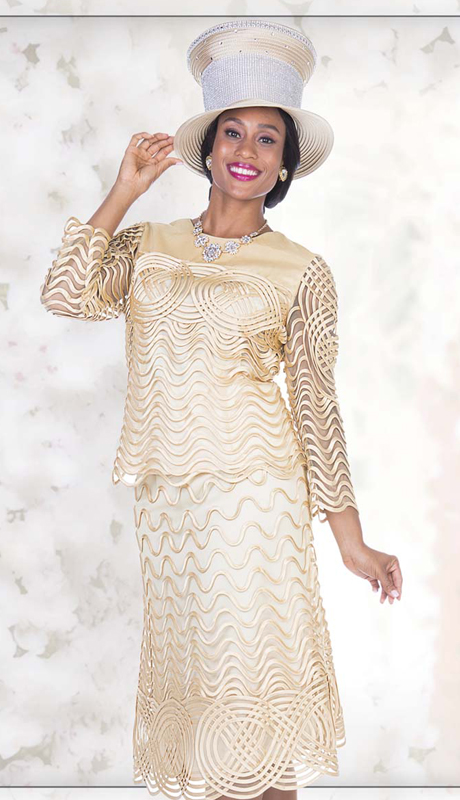 Champagne Italy 5105 ( 2pc Exclusive Lace Womens Church Suit With Ribbon Weave Pattern And Stripe On Jacket And Skirt )