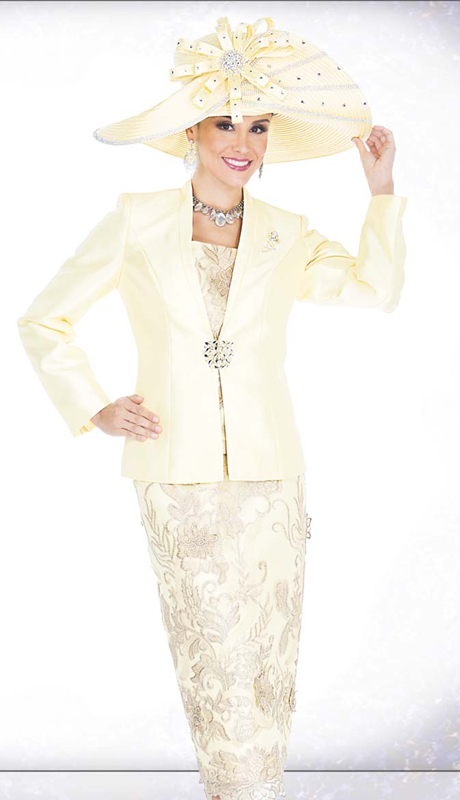 Champagne Italy 5202 ( 3pc First Lady Church Suit With Satin Jacket, Rhinestone Clasp And Rose Bud Brooch, Metallic floral Lace Vest And skirt )