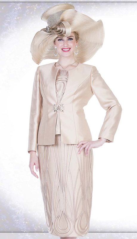Champagne Italy 5115 ( 3pc Satin Ladies Church Suit With Ribbon Stripe Design On Vest, Skirt With Solid Jacket )