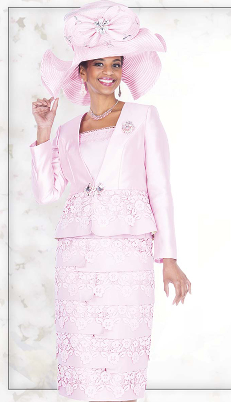 Champagne Italy 5211 ( 3pc Satin And Lace Womens Church Suit With Novelty Floral Lace And Ornate Rhinestone Clasp, Jacket, Vest And Skirt )