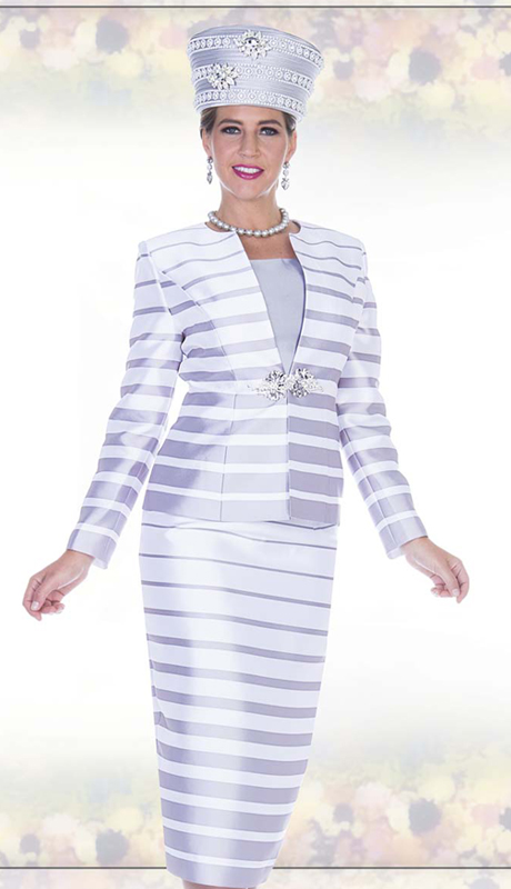 Champagne Italy 5011 ( 3pc Satin Womens Church Suit With Stripe Pattern, Rhinestone Clasp Jacket, Cami And Skirt )
