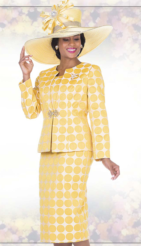 Champagne Italy 5113 ( 3pc Exclusive Embossed Brocade Womens Church Suit With Polka-Dot Pattern Jacket, Vest And Skirt )