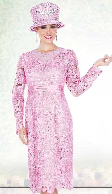 Champagne Italy 5209 ( 1pc Special Lace Womens Church Dress With Floral Pattern Lace And Rhinestone Flower Brooch )