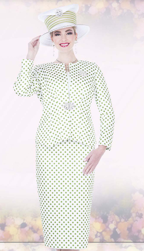 Champagne Italy 5201 ( 3pc Women Sunday Church Suit , Jacket, Skirt In Brocade And Polka Dot Pattern,With Rhinestone Clasp )