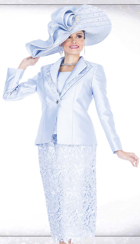 Champagne Italy 5204 ( 3pc First Lady Church Suit Satin Jacket, Rhinestone Clasp And Lace Skirt )
