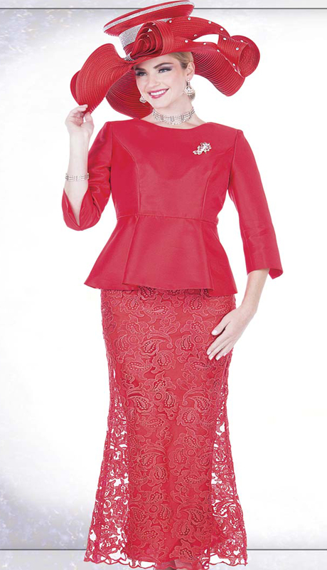 Champagne Italy 5205 ( 2pc Ladies Church Suit With Peplum Satin Jacket And Skirt With Special Lace, Rhinestone Brooch )