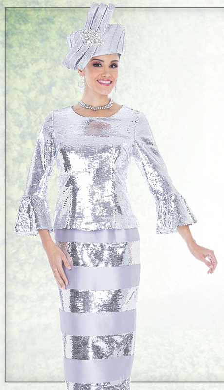Champagne Italy 5206 ( 2pc First Lady Church Suit With Sequins Embellish Top And Skirt )