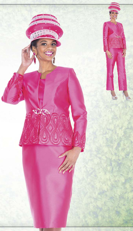 Champagne Italy 5104 ( 4pc Satin Womens Church Wardrobe With Jacket, Vest Skirt And Pant, Ribbon And Rhinestone Teardrop Pattern )