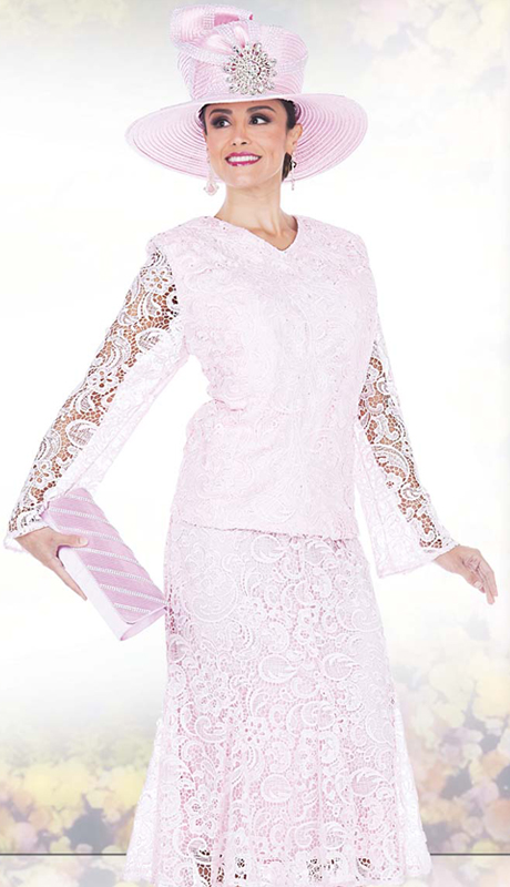 Champagne Italy 5007 ( 2 Pc Special Exclusive Lace Suit For Church )
