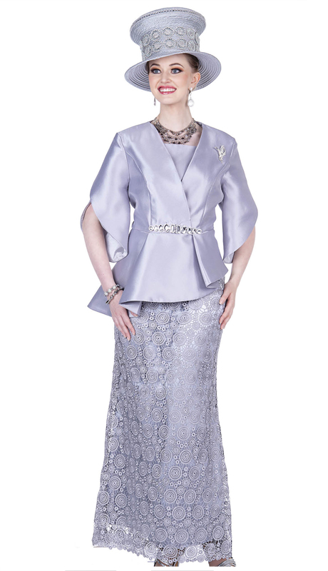 Champagne Italy 5207-PG ( 2pc Satin Sunday Suit With Solid Asymmetric Jacket )
