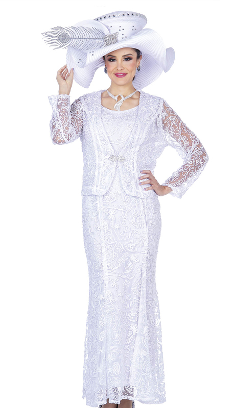 Champagne Italy 5214-WH ( 2pc Novelty Lace Church Dress  )