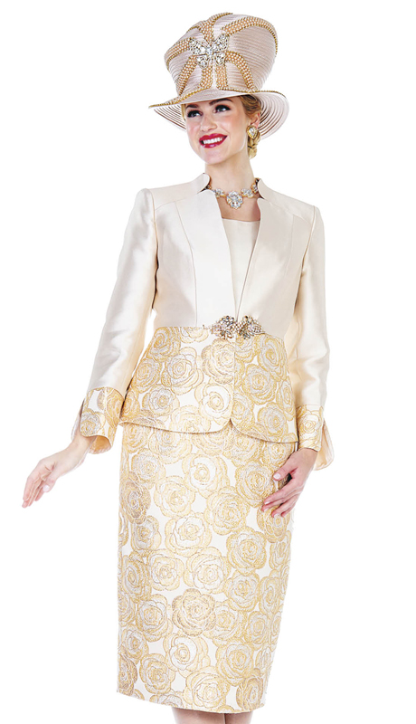 Champagne Italy 5108-MC ( 2pc Satin With Metallic Brocade First Lady Suit )
