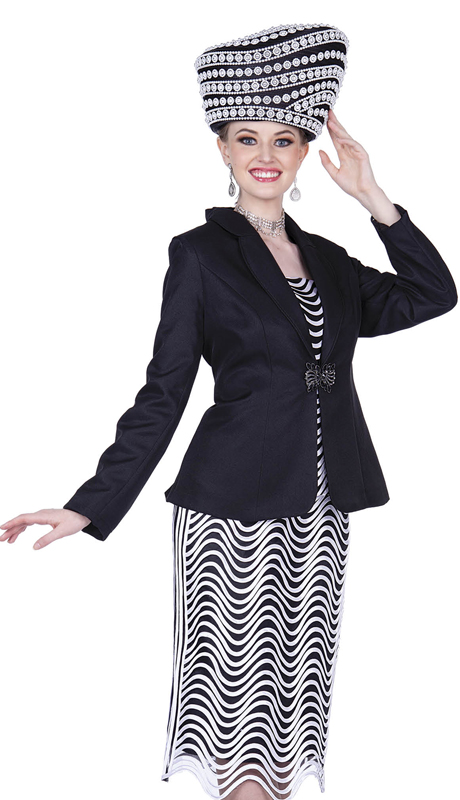 Champagne Italy 5208-BW ( 3pc Wavy Stripe Design Sunday Suit With Solid Jacket )