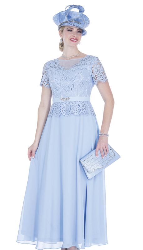 Champagne Italy 5261-CB ( 1pc Chiffon Church Dress With Lace )