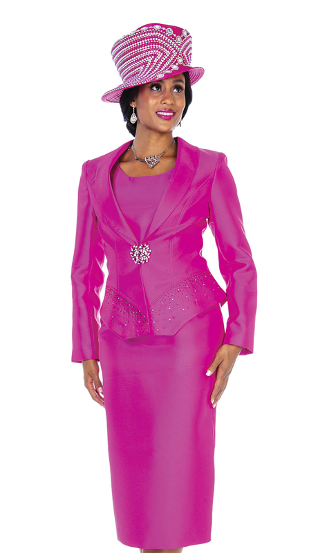 Champagne Italy 5101-FU ( 4pc Satin Ladies Church Suit With Shawl Lapel And Pants )