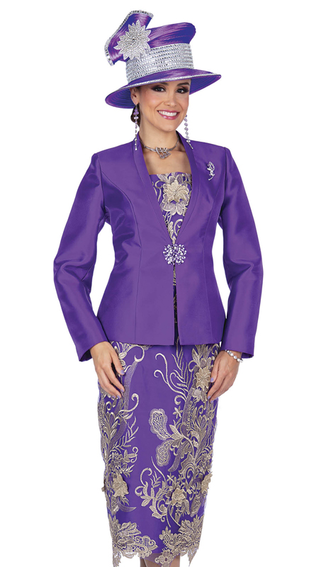 Champagne Italy 5202-CO ( 3pc Satin With Metallic Lace Suit For Church )