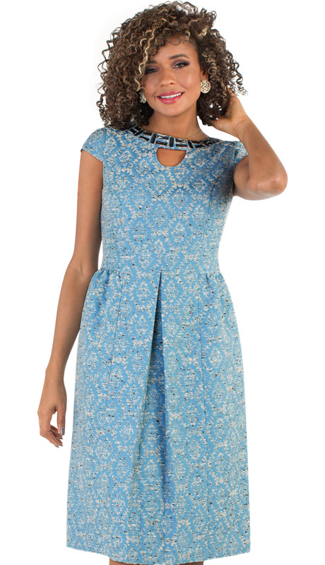 Chancelle 9495-SK ( 1pc Novelty Ladies Church Dress With Jeweled Neckline And Pleats )