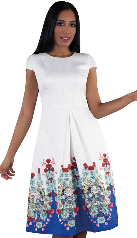 Chancelle 9506-WH ( 1pc Novelty Ladies Church Dress With Floral Pattern And Pleats )