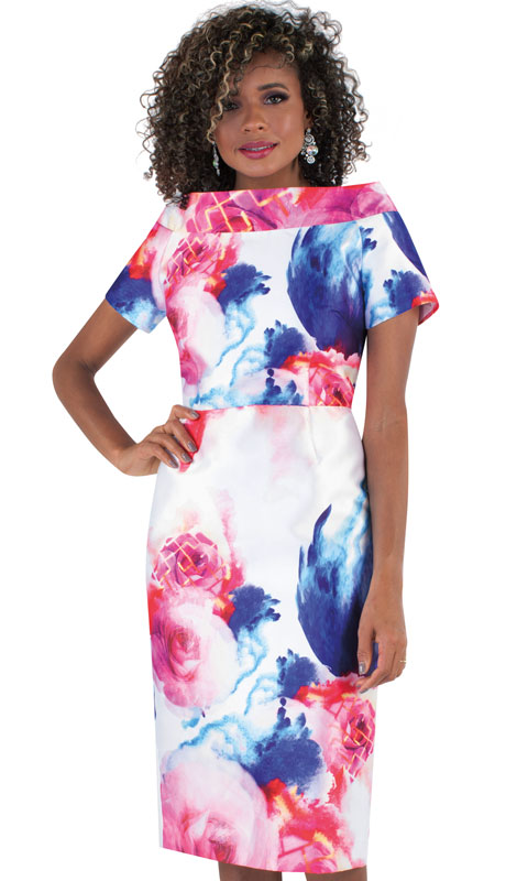 Chancelle 9507-AS ( 1pc Novelty Ladies Church Dress With Floral Pattern )