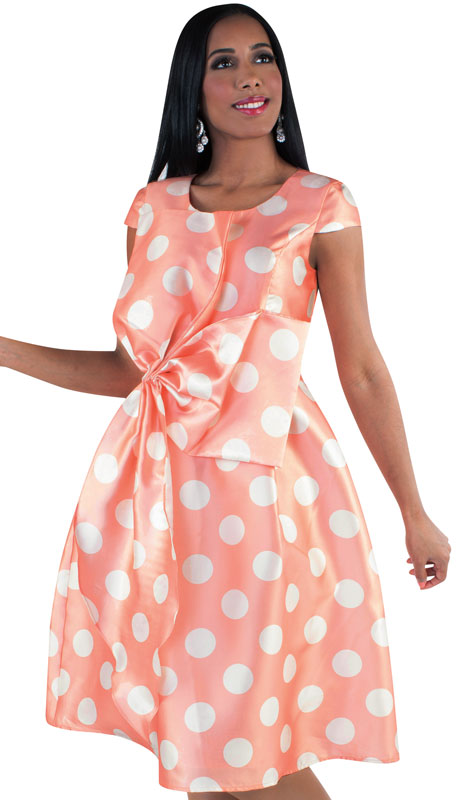 Chancelle 9508-PI ( 1pc Ladies Silk Look Dress In Two Tone Polka Dot Pattern And Accented Waist Design )