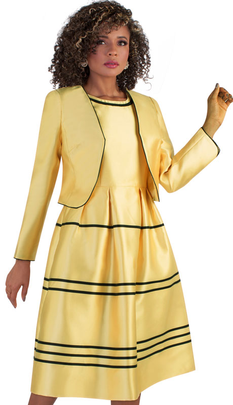 Chancelle 9509-BU ( 2pc Silk Look Dress And Jacket With Satin Stripe Design )