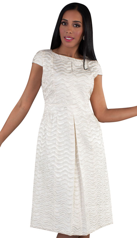 Chancelle 9510-IV ( 1pc Brocade Ladies Church Dress With Pattern And Pleats )