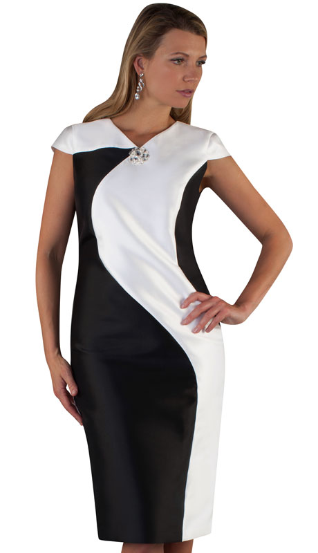 Chancelle 9516-BW ( 1pc Silk Look Womans Dress With Swirled Color Block Design And Rhinestone Brooch )
