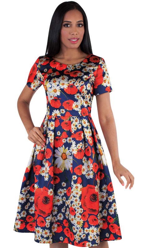 Chancelle 9519-MU ( 1pc Silk Look Ladies Church Dress With Floral Pattern And Pleats )