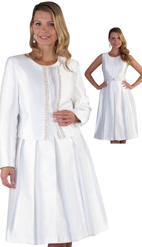 Chancelle 9520-WH ( 2pc Silk Look Dress And Jacket With Rhinestone Trim )