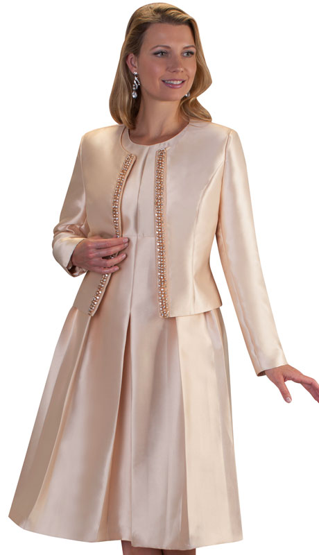 Chancelle 9520-CH ( 2pc Silk Look Dress And Jacket With Rhinestone Trim )