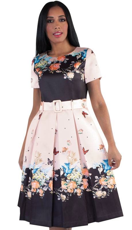 Chancelle 9521-PE ( 1pc Silk Look Ladies Church Dress With Pattern And Belt )