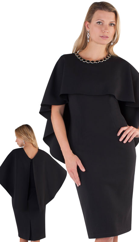 Chancelle 9501-BL ( 1pc PeachSkin Ladies Church Dress With Cape And Jeweled Neckline )