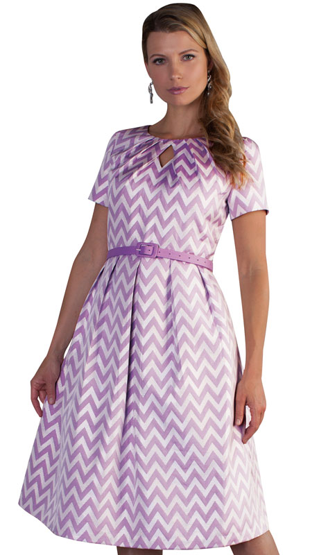 Chancelle 9503-VI ( 1pc Brocade Ladies Dress With Zig Zag Pattern And Belt )