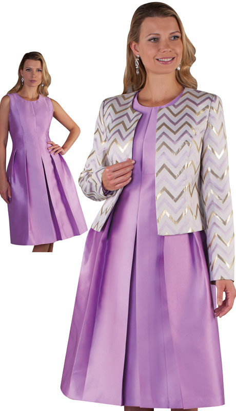 Chancelle 9503-VI ( 2pc Silk Look Brocade Ladies Dress And Jacket With Zig Zag Pattern And Belt )