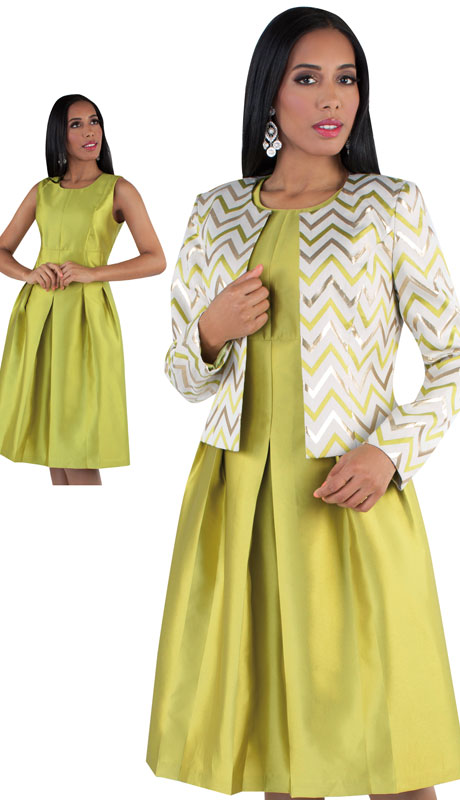Chancelle 9503-CH ( 2pc Silk Look Brocade Ladies Dress And Jacket With Zig Zag Pattern And Belt )