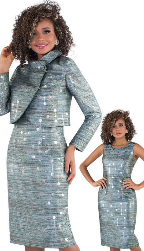 Chancelle 9504-CO ( 1pc Womans Novelty Dress And Jacket With Unique Abstract Print )