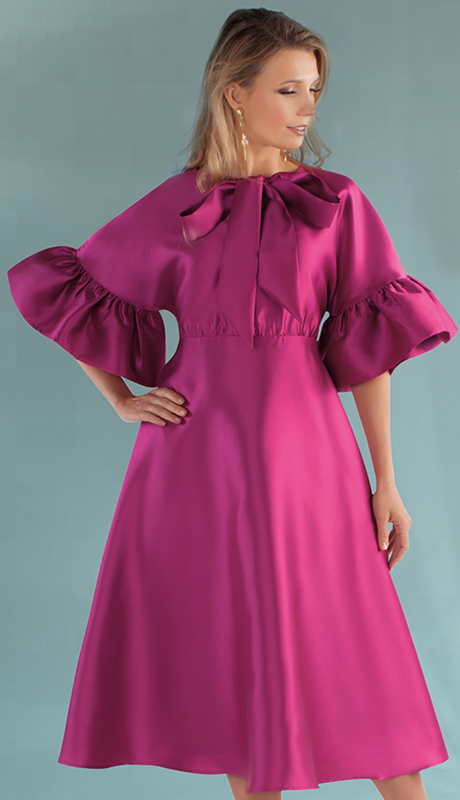 Chancelle 9535-FU ( 1pc Silk Look Dress With Belt, Gorgeous Bowtie And Ruffle Sleeves )