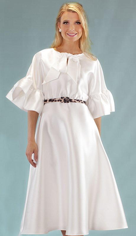 Chancelle 9535-IV ( 1pc Silk Look Dress With Belt, Gorgeous Bowtie And Ruffle Sleeves )