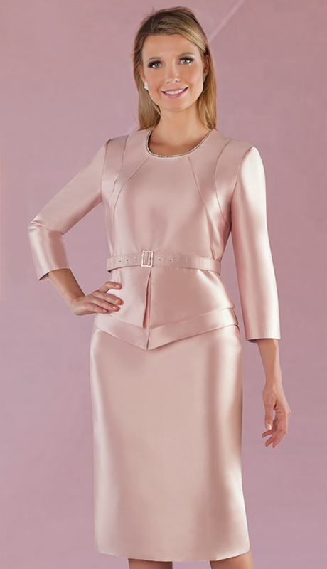 Chancelle 9528-MA ( 1pc Silk Look Dress With Rhinestone Neckline And Belt )