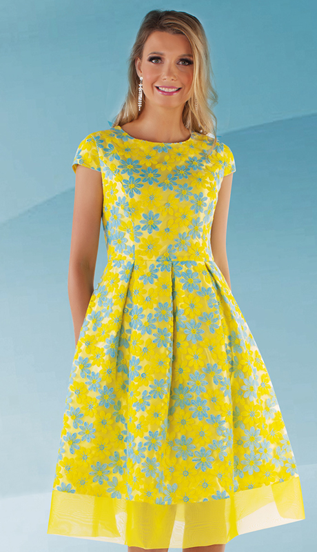 Chancelle 9525-YB ( 1pc Novelty Flair Flower Dress With Mesh Hem And Cap Sleeves )