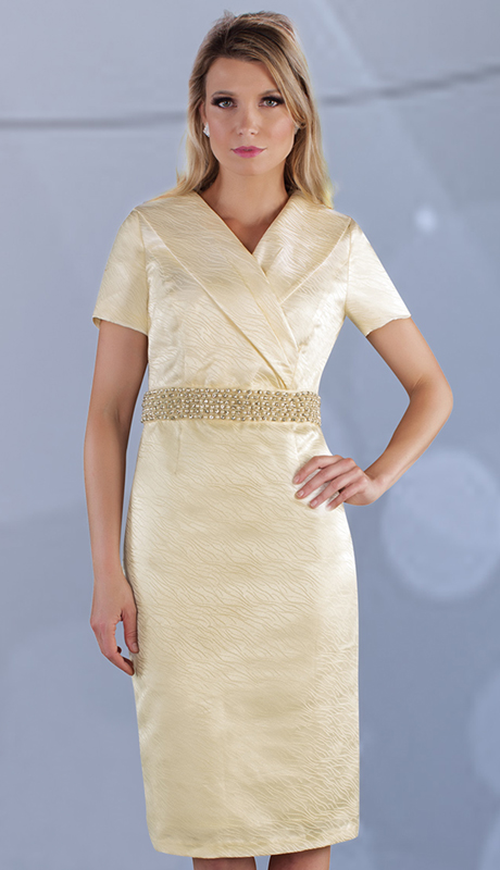 Chancelle 9533-CR ( 1pc Novelty Dress With Pearl Detail At Waist And Oversize Collar)