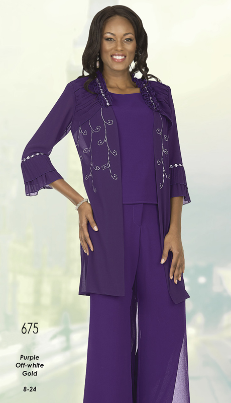 Christie By Aussie Austine 675 ( Double Georgette Pant Suit With Layered Bell Cuff Sleeves )