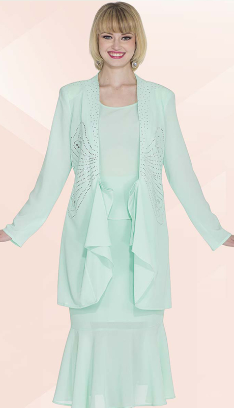 Christie By Aussie Austine 672 ( 3pc Georgette Womens Church Suit With Rhinestone Butterfly Design And Cascading Ruffle Jacket With Cami And Skirt )