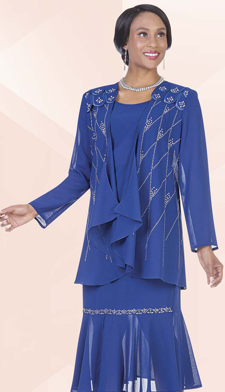 Christie By Aussie Austine 670 ( 3pc Georgette Womens Church Suit With Scallop Shoulder Detail And Rhinestone Diamond Pattern On Jacket With Cami And Skirt )